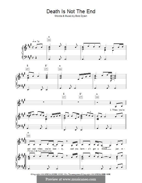 Death Is Not the End: Für Stimme und Klavier (oder Gitarre) by Bob Dylan