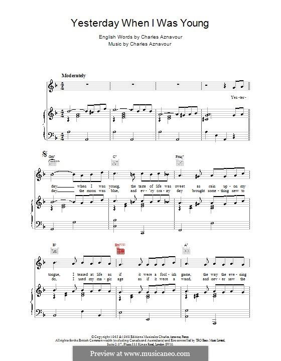 Yesterday When I Was Young: Für Stimme und Klavier (oder Gitarre) by Charles Aznavour