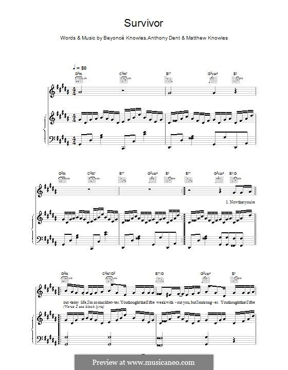 Survivor (Destiny's Child): Für Stimme und Klavier (oder Gitarre) by Beyoncé, Anthony Dent, Mathew Knowles