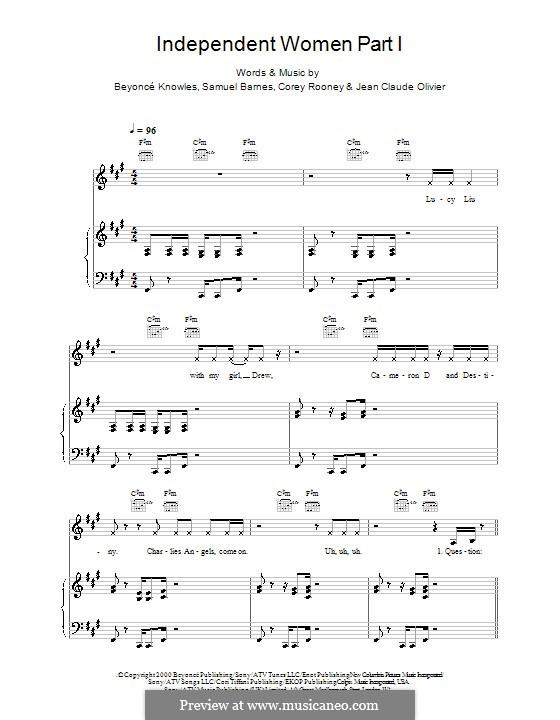 Independent Women Part I (Destiny's Child): Für Stimme und Klavier (oder Gitarre) by Beyoncé, Cory Rooney, Jean Claude Olivier, Samuel Barnes