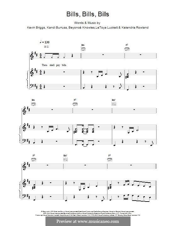 Bills, Bills, Bills: Für Stimme und Klavier (oder Gitarre) by Beyoncé, Kandi Burruss, Kelly Rowland, Kevin Briggs, LeToya Luckett