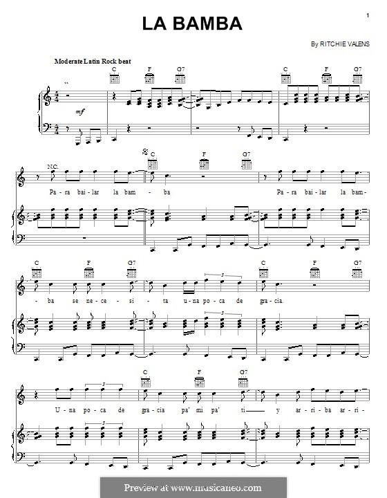 La Bamba: Für Stimme und Klavier (oder Gitarre) by folklore, Ritchie Valens