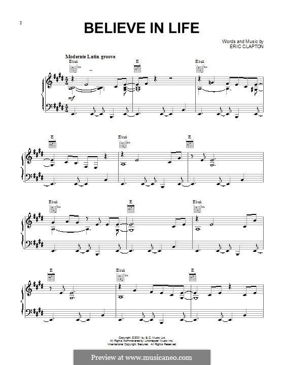 Believe in Life: Für Stimme und Klavier (oder Gitarre) by Eric Clapton