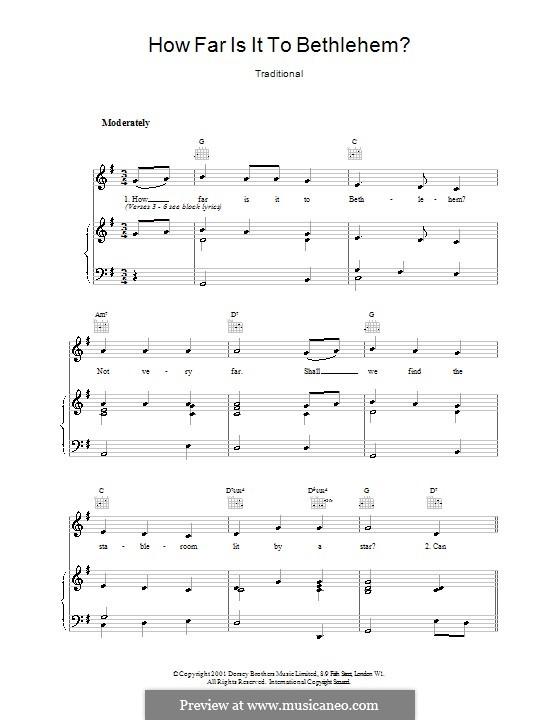 How Far Is It to Bethlehem?: Für Stimme und Klavier (oder Gitarre) by folklore