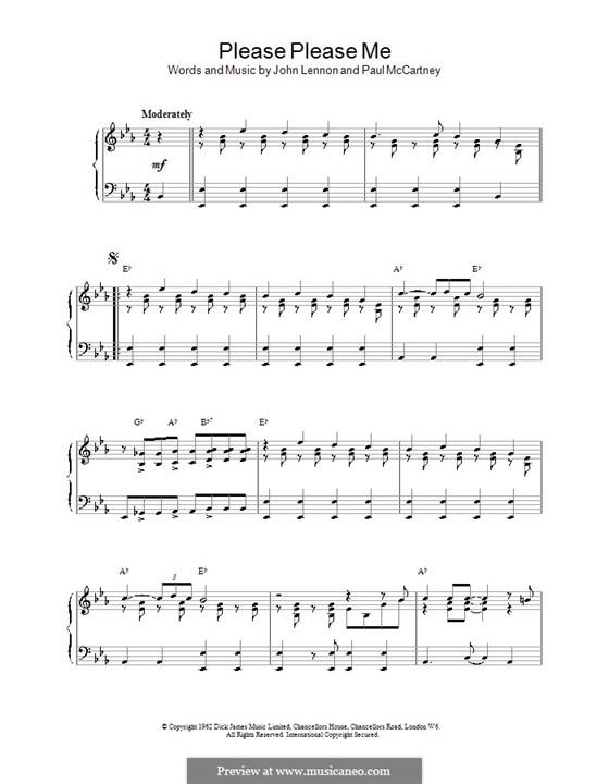 Please Please Me (The Beatles): Für Klavier, leicht by John Lennon, Paul McCartney