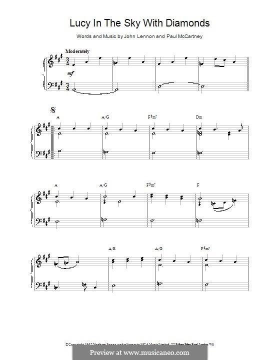 Lucy in the Sky with Diamonds (The Beatles): Für Klavier, leicht by John Lennon, Paul McCartney