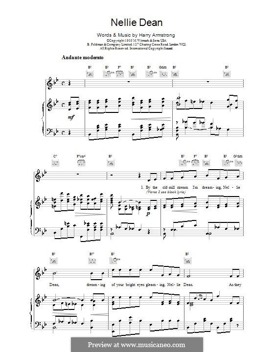 Nellie Dean: Für Stimme und Klavier (oder Gitarre) by Harry Armstrong