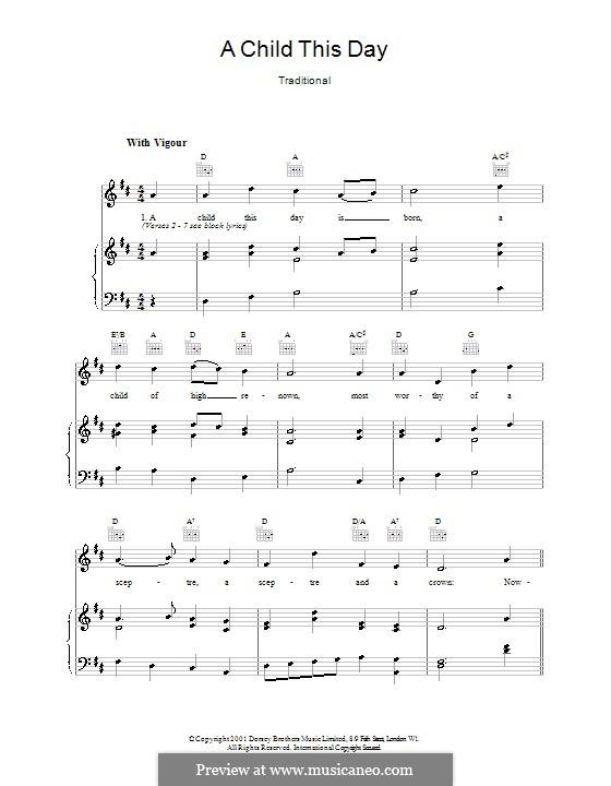 A Child This Day is Born: Für Stimme und Klavier (oder Gitarre) by folklore