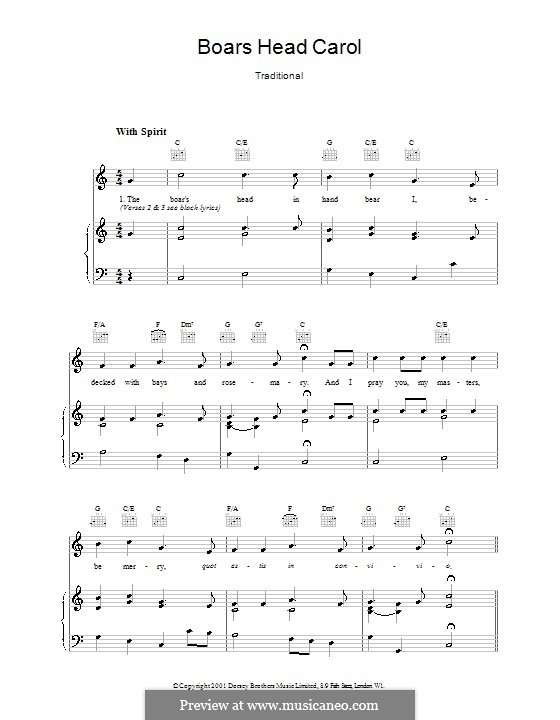 The Boar's Head Carol: Für Stimme und Klavier (oder Gitarre) by folklore