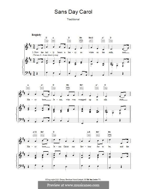Sans Day Carol: Für Stimme und Klavier (oder Gitarre) by folklore