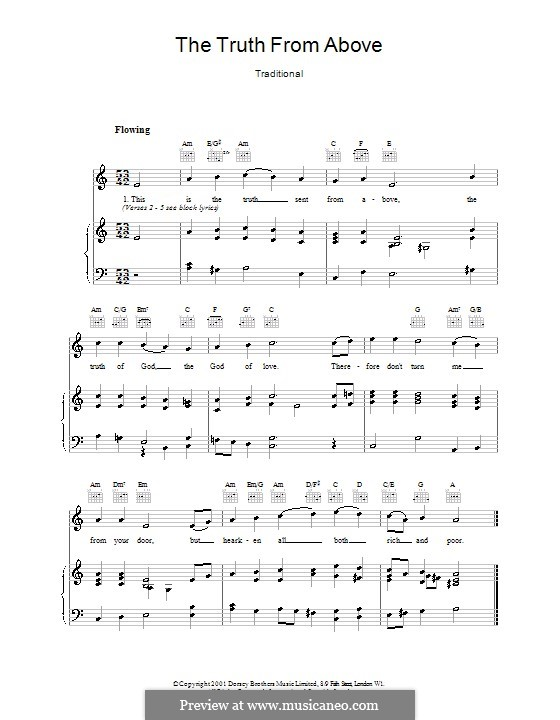 The Truth from Above: Für Stimme und Klavier (oder Gitarre) by folklore