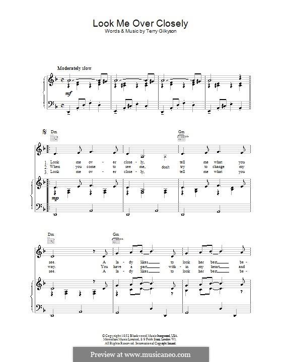 Look Me Over Closely (Marlene Dietrich): Für Stimme und Klavier (oder Gitarre) by Terry Gilkyson