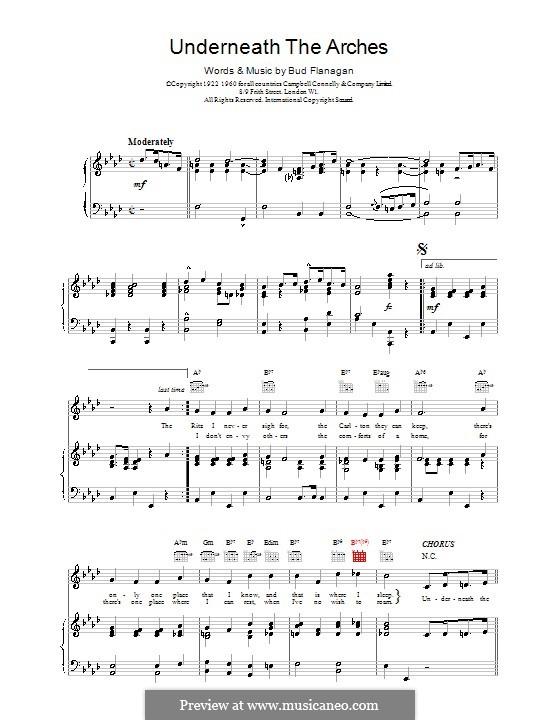 Underneath the Arches: Für Stimme und Klavier (oder Gitarre) by Bud Flanagan