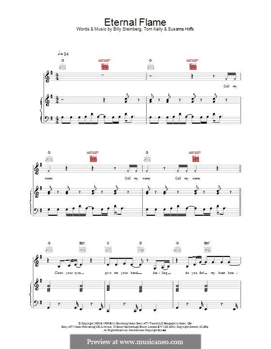 Eternal Flame: Für Stimme mit Klavier oder Gitarre (Atomic Kitten) by Billy Steinberg, Susanna Hoffs, Tom Kelly
