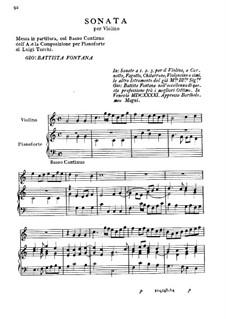 Sonate für Violine und Basso Continuo: Sonate für Violine und Basso Continuo by Giovanni Battista Fontana