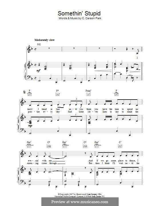 Somethin' Stupid (Frank Sinatra): Für Stimme und Klavier (oder Gitarre) by C. Carson Parks