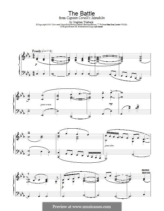 The Battle (from Captain Corelli's Mandolin): Für Klavier by Stephen Warbeck
