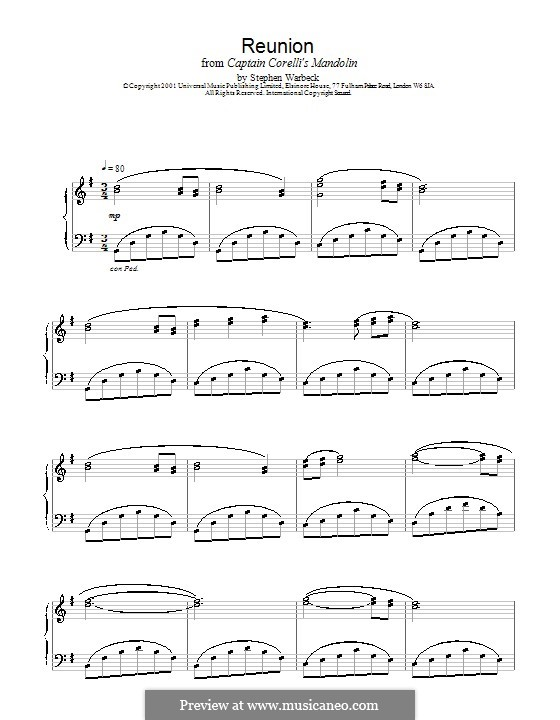 Reunion (from Captain Corelli's Mandolin): Für Klavier by Stephen Warbeck