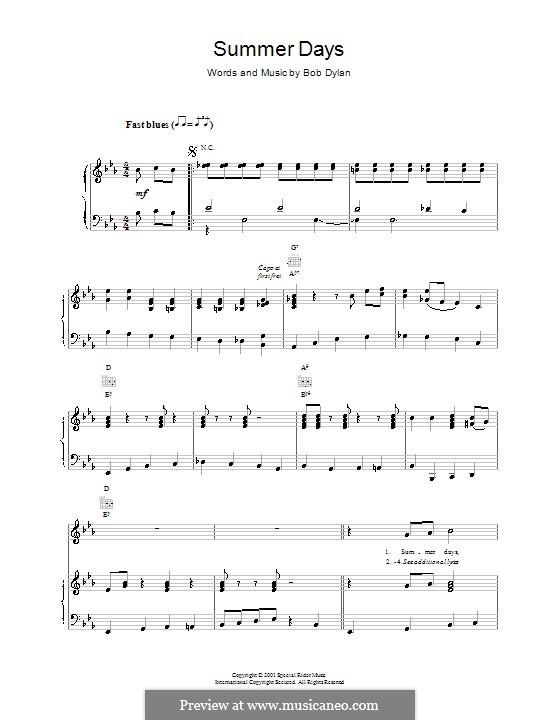 Summer Days: Für Stimme und Klavier (oder Gitarre) by Bob Dylan
