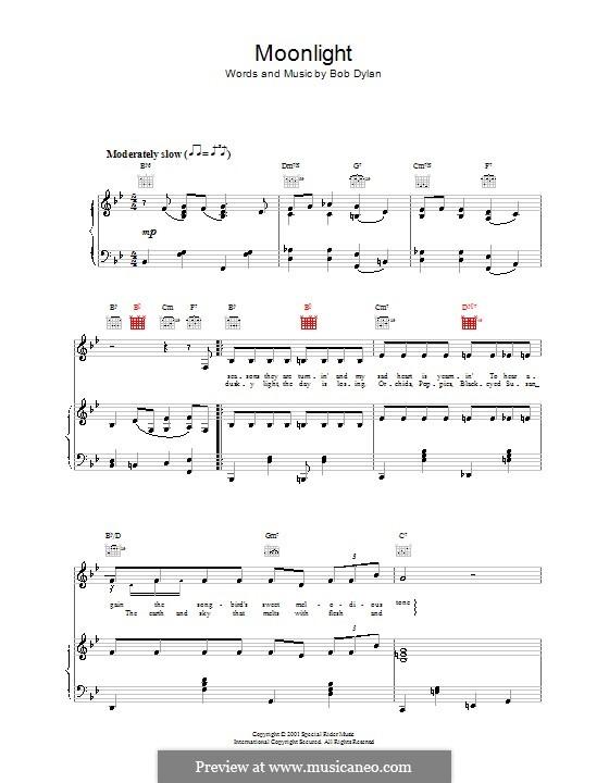 Moonlight: Für Stimme und Klavier (oder Gitarre) by Bob Dylan