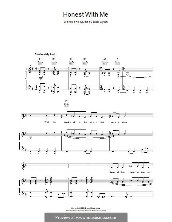 Honest with Me: Für Stimme und Klavier (oder Gitarre) by Bob Dylan