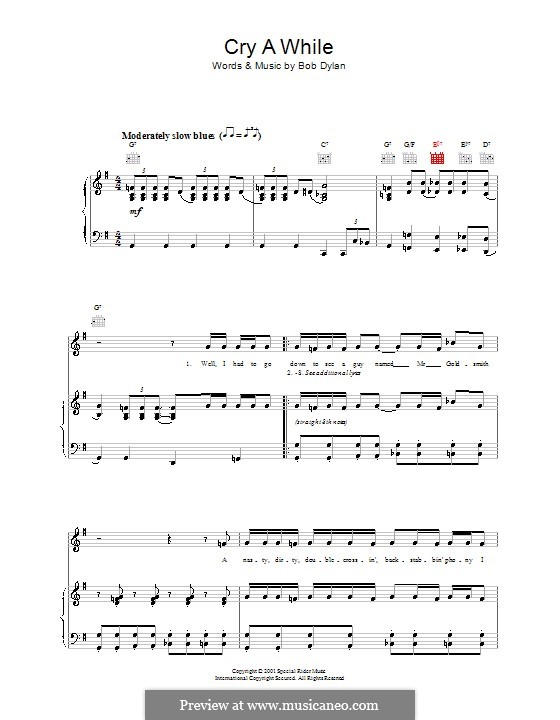 Cry a While: Für Stimme und Klavier (oder Gitarre) by Bob Dylan
