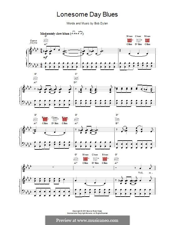 Lonesome Day Blues: Für Stimme und Klavier (oder Gitarre) by Bob Dylan