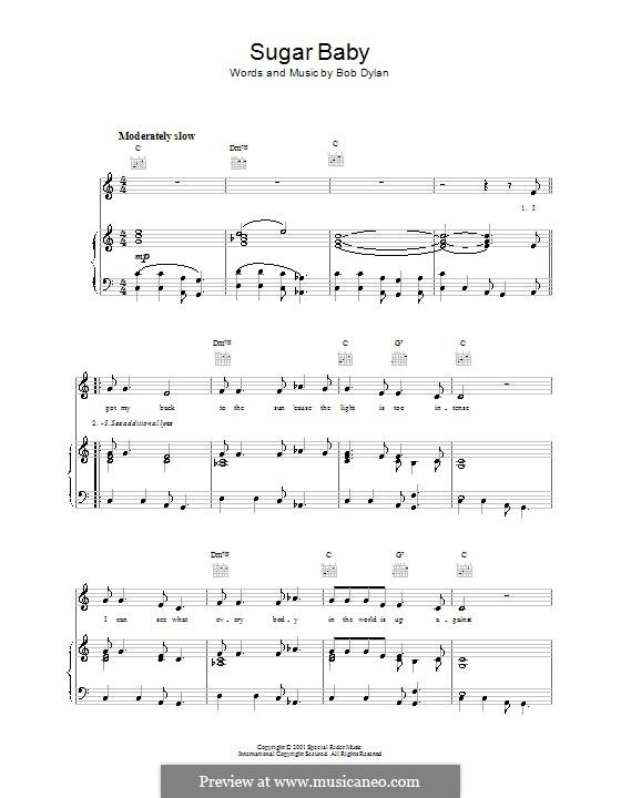 Sugar Baby: Für Stimme und Klavier (oder Gitarre) by Bob Dylan