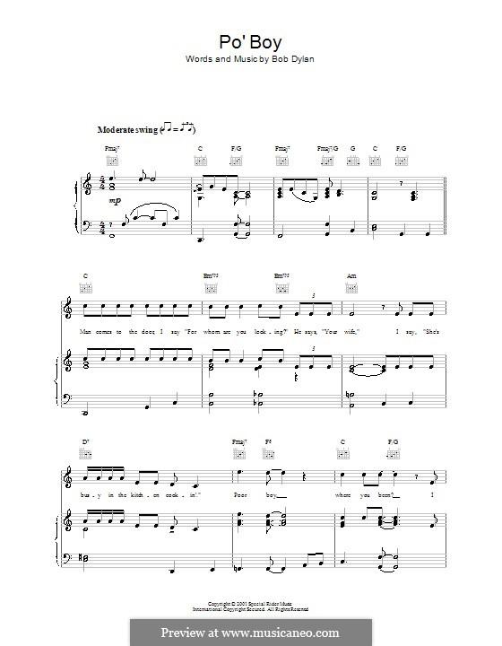 Po' Boy: Für Stimme und Klavier (oder Gitarre) by Bob Dylan
