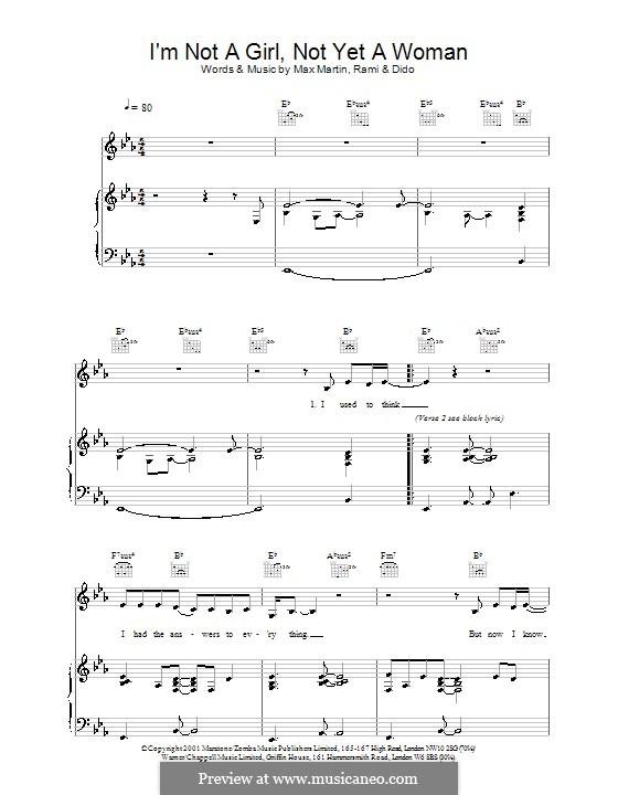I'm Not a Girl, Not Yet a Woman (Britney Spears): Für Stimme und Klavier (oder Gitarre) by Max Martin