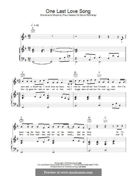 One Last Love Song (The Beautiful South): Für Stimme und Klavier (oder Gitarre) by David Rotheray, Paul Heaton