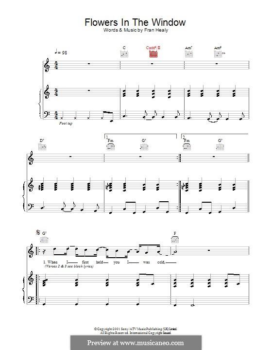 Flowers in the Window (Travis): Für Stimme und Klavier (oder Gitarre) by Fran Healy