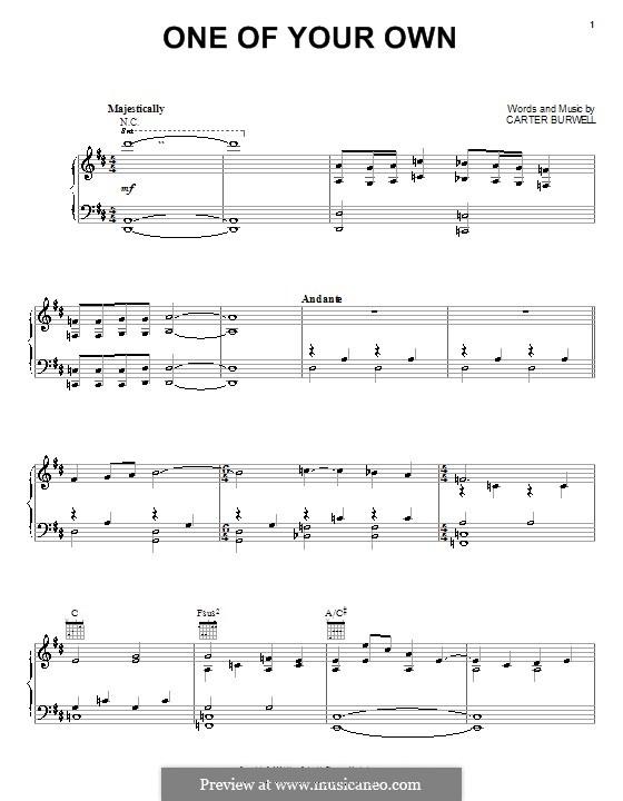 One of Your Own (from A Knight's Tale): Für Stimme und Klavier (oder Gitarre) by Carter Burwell