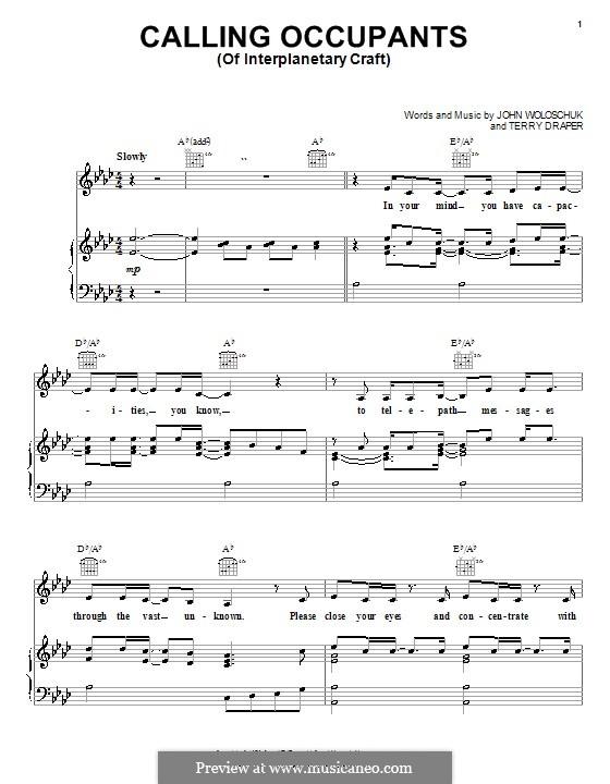 Calling Occupants (Of Interplanetary Craft): Für Stimme und Klavier (oder Gitarre) by John Woloschuk, Terry Draper