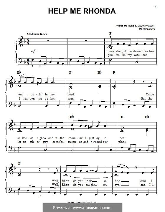Help Me Rhonda (The Beach Boys): Für Klavier, leicht by Brian Wilson, Mike Love