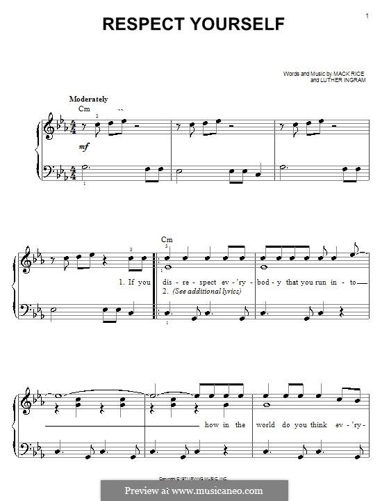 Respect Yourself (The Staple Singers): Für Klavier, leicht by Mark Rice, Luther Ingram
