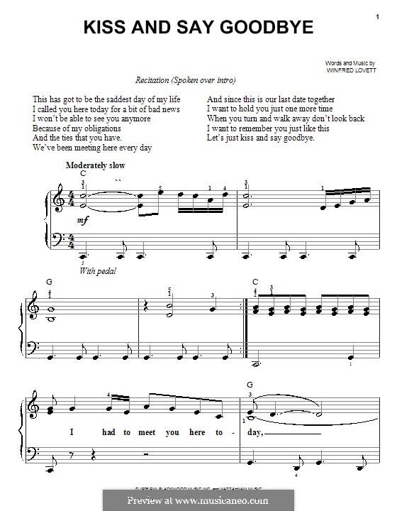 Kiss and Say Goodbye (The Manhattans): Für Klavier, leicht by Winfred Lovett
