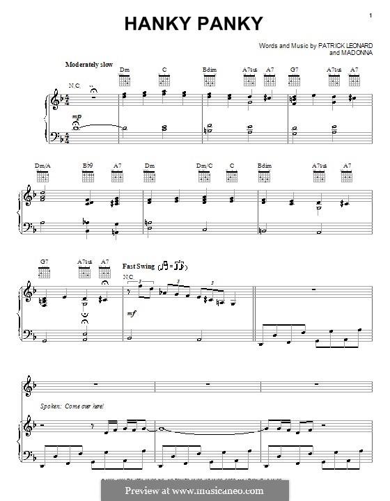 Hanky Panky (Madonna): Für Stimme und Klavier (oder Gitarre) by Patrick Leonard