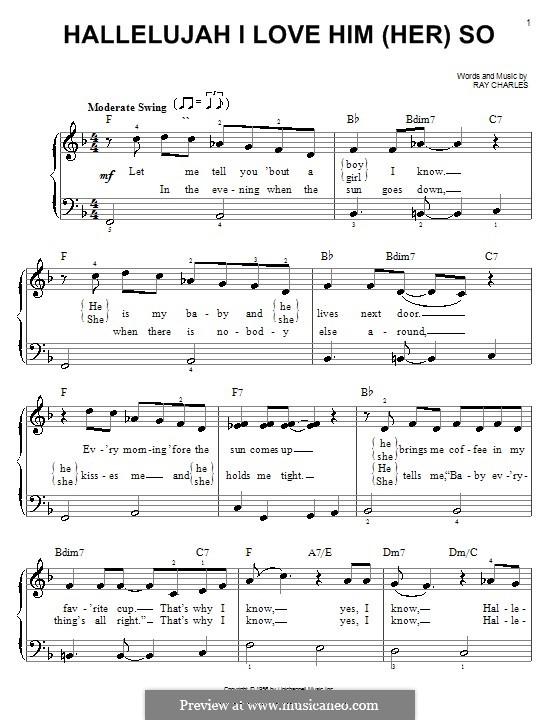 Hallelujah I Love Her So: Für Klavier, leicht by Ray Charles