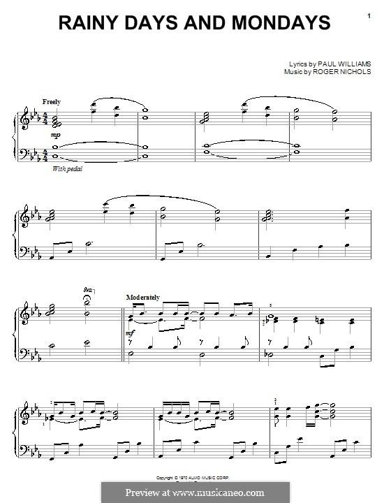 Rainy Days and Mondays (Carpenters): Für Klavier by Paul H. Williams, Roger Nichols