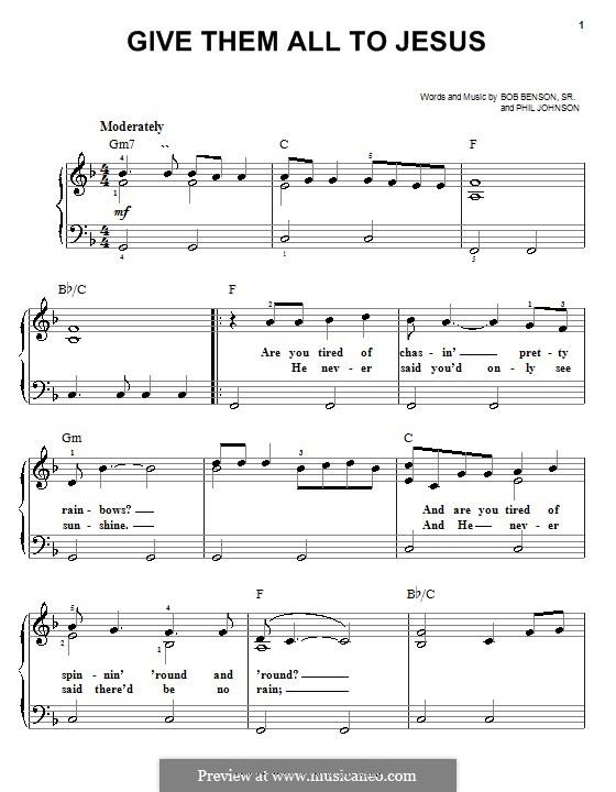 Give Them All to Jesus: Einfache Noten für Klavier by Phil Johnson