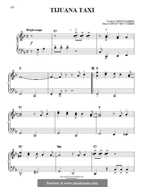 Tijuana Taxi (Herb Alpert & The Tijuana Brass Band): Für Klavier, leicht by Ervan Coleman, Johnny Flamingo