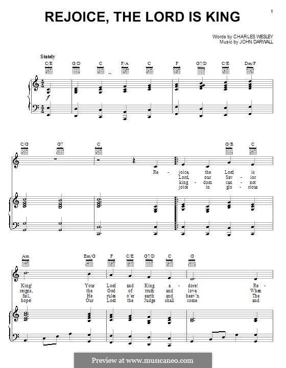 Rejoice the Lord Is King: Für Stimme und Klavier (oder Gitarre) by John Darwall