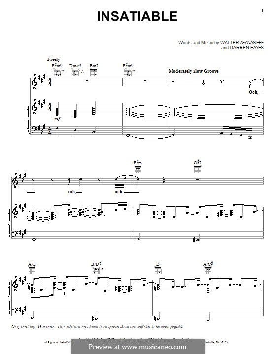 Insatiable (Darren Hayes): Für Stimme und Klavier (oder Gitarre) by Walter Afanasieff