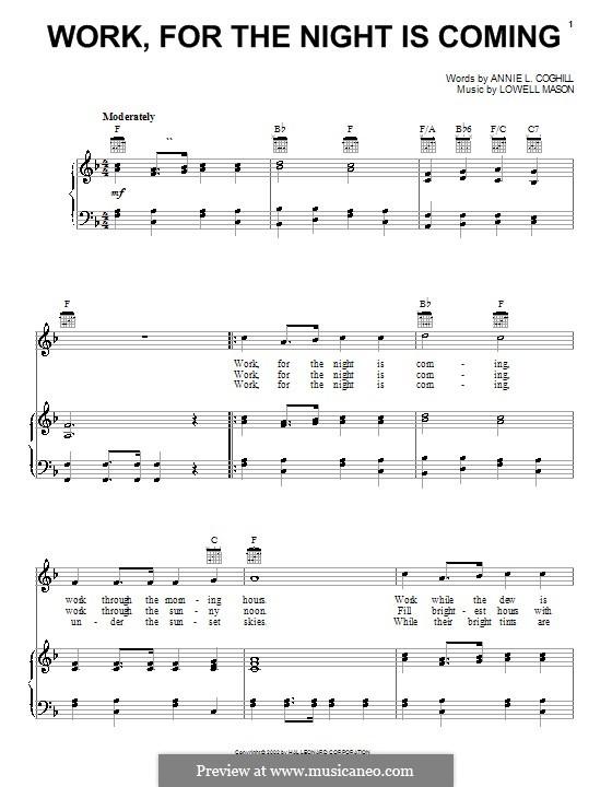 Work, for the Night is Coming: Für Stimme und Klavier (oder Gitarre) by Lowell Mason