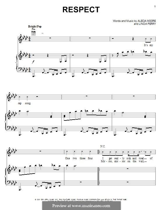 Respect (Pink): Für Stimme und Klavier (oder Gitarre) by Alecia Moore, Linda Perry