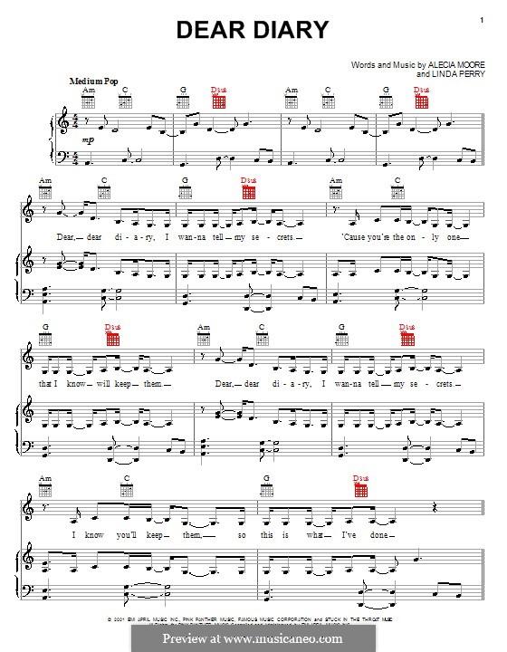 Dear Diary (Pink): Für Stimme und Klavier (oder Gitarre) by Alecia Moore, Linda Perry