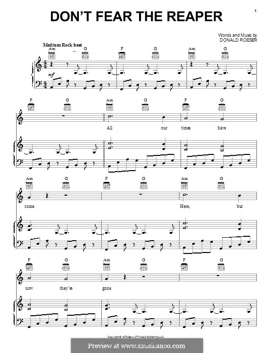 Don't Fear / The Reaper (Blue Oyster Cult): Für Stimme und Klavier (oder Gitarre) by Donald Roeser