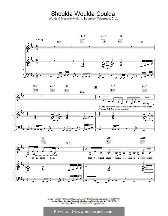 Shoulda Woulda Coulda (Beverley Knight): Für Stimme und Klavier (oder Gitarre) by Beverley Knight, Craig Wiseman