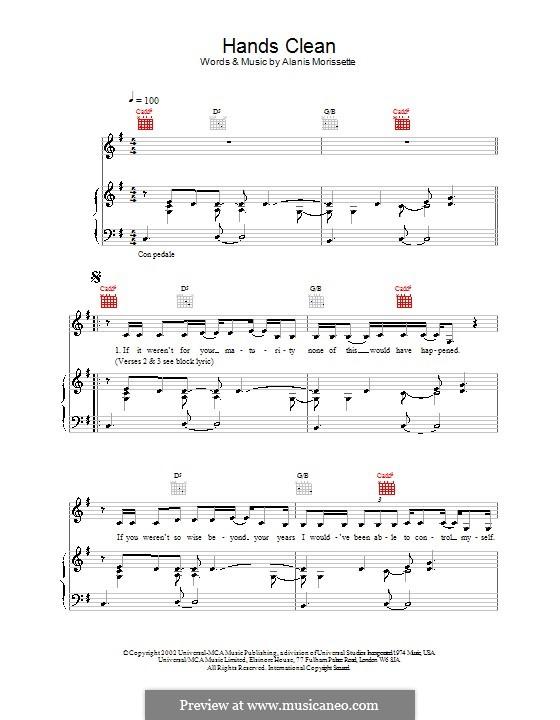 Hands Clean: Für Stimme und Klavier (oder Gitarre) by Alanis Morissette